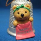 HAPPY HOLIDAYS TEDDY BEAR THIMBLE CHRISTMAS ORNAMENT