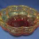 VINTAGE AMBERINA ROSE FLOWER SHAPE FOOTED BOWL PRETTY