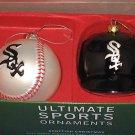 MLB CHICAGO WHITE SOX BLOWN GLASS BALL CAP ORNAMENT SET