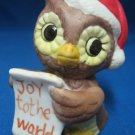 CHRISTMAS OWL BIRD JOY TO THE WORLD HOLIDAY FIGURINE