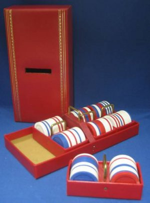 Gambling Poker Chips Kaddy Caddy Case Trays Vintage MIB