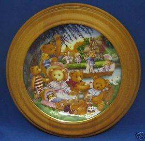 TEDDY BEAR PICNIC COLLECTOR PLATE FRAMED CAROL LAWSON