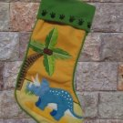 Dinosaur Triceritops Christmas Stocking Appliqued New