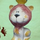 ITALIAN ART POTTERY LION KING FIGURAL COIN BANK ITALY