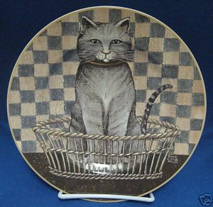 GRAY TABBY  CAT PLATE DAVID CARTER BROWN ONEIDA MINT