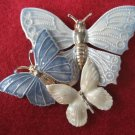 Blue White Enamel Butterfly Pin Brooch Costume Jewelry