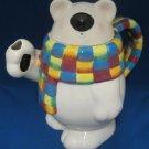 Polar Bear Figural w Colorful Scarf Teapot Tea Pot Cute
