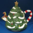 Holiday Christmas Tree Figural Teapot Tea Pot Ceramic