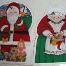 SANTA MRS CLAUS FABRIC CRAFT PANEL SEWING SET 2 NEW