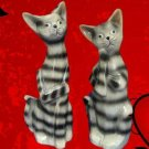 Tabby Kitty Cats Pottery Figurine Statue Set Pair 2