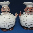 VINTAGE CHEF CREAMER SUGAR BOWL SET MID CENTURY AS IS