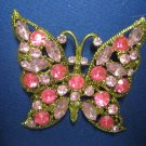VINTAGE PINK RHINESTONE BUTTERFLY PIN BROOCH GOLD PLATE