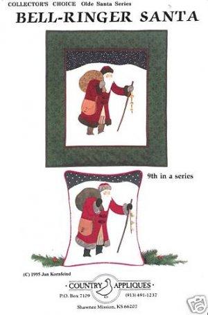 BELL RINGER SANTA APPLIQUE QUILT CHRISTMAS PATTERN NEW