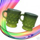 VINTAGE FIRE KING KIMBERLY 2 GREEN COFFEE MUGS CUPS USA