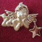 Angel Cherub Dangle Star Pin Brooch Gold Plated Jewelry