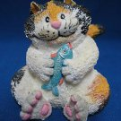 CHUBBY CALICO KITTY CAT WITH FISH FIGURINE RUSS 13878