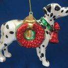 DALMATIAN FIRE DOG GLASS CHRISTMAS ORNAMENT NEW MINT