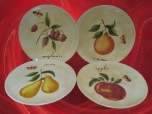 PIER 1 ONE PROVENCE TUSCAN FRUIT 4 SALAD DESSERT PLATES