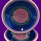 FURIO PURPLE BLUE GREEN BANDS 2 SALAD PLATES MADE ITALY