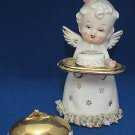 VINTAGE ANGEL HAPPY ANNIVERSARY CAKE COVER TRAY FIGURE