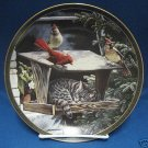 CAT NAP SLEEPING TABBY CARDINALS BIRD FEEDER PLATE 1994