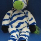 BLUE WHITE ZEBRA SAFARI HAT PLUSH ANIMAL ZANY BRAINY NR