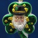 LUCKY IRISH SHAMROCK LEPRECHAUN GLASS XMAS ORNAMENT NEW