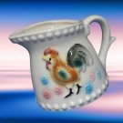 VINTAGE COUNTRY ROOSTER CREAMER PITCHER PASTEL FLOWERS