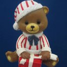 BROWN TEDDY BEAR GIFT WRAPPER CHRISTMAS ORNAMENT RARE