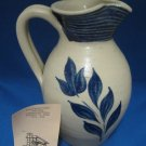 Williamsburg Pottery Cobalt Salt Glaze Pottery Pitcher