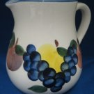 Dansk Italy Hand Painted Fruits Pottery Pitcher Italian