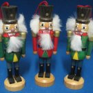 HOLIDAY NUTCRACKERS WOOD CHRISTMAS ORNAMENTS SET 3 NEW