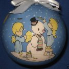 PRECIOUS MOMENTS ANGELS BUILDING SNOWMAN BALL ORNAMENT