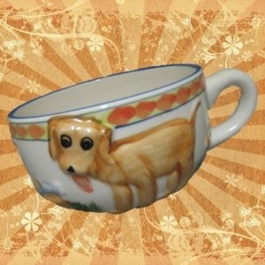 UNIQUE PUPPY DOG PAW PRINTS 3D HAND PAINTED CUP CUTE NR
