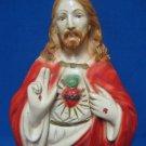 Religious Chalkware Sacred Heart Jesus Wall Sculpture