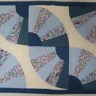 PRETTY BLUE FAN QUILT BLOCKS FABRIC PLACEMATS SET 6