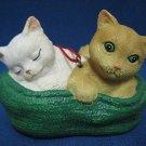 WHITE & ORANGE TABBY KITTENS CATS BASKET ORNAMENT NEW