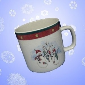 ROYAL SEASONS RED SNOWEAN STONEWARE DINNERWARE MUG XMAS