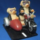 Motorcycle Sidecar Hogs Pigs Bikers Sculpture Figurine