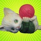 VINTAGE ENESCO PLAYFUL KITTEN CAT YARN BALL FIGURINE