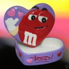 M&M M&Ms RED HEART CERAMIC TREASURE JEWELRY BOX CUTE