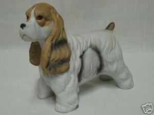 COCKER SPANIEL PUPPY DOG PORCELAIN FIGURINE STATUE CUTE