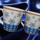 SAKURA DEBBIE MUMM SNOWFLAKE DINNERWARE 2 COFFEE MUGS