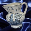 OUTEIRO AGUEDO PORTUGAL POTTERY BLUE ROOSTER CREAMER