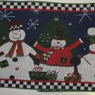 HOLIDAY SNOWMAN TAPESTRY CHRISTMAS TABLE RUNNER NEW NR