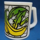 VINTAGE FEDERAL MILK GLASS BANANA FRUIT MOSAIC MUG CUP