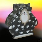 BLACK WHITE KITTY CAT COASTER SET AND HOLDER NEW CUTE