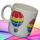 COLORFUL RAINBOW HOT AIR BALLOONS COFFEE COCOA MUG CUP