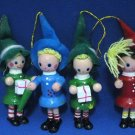 VINTAGE ELVES SANTAS HELPERS CHRISTMAS ORNAMENTS SET 4