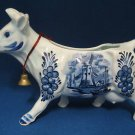 FIGURAL COW CREAMER BLUE DUTCH WINDMILL FLOWERS PRETTY